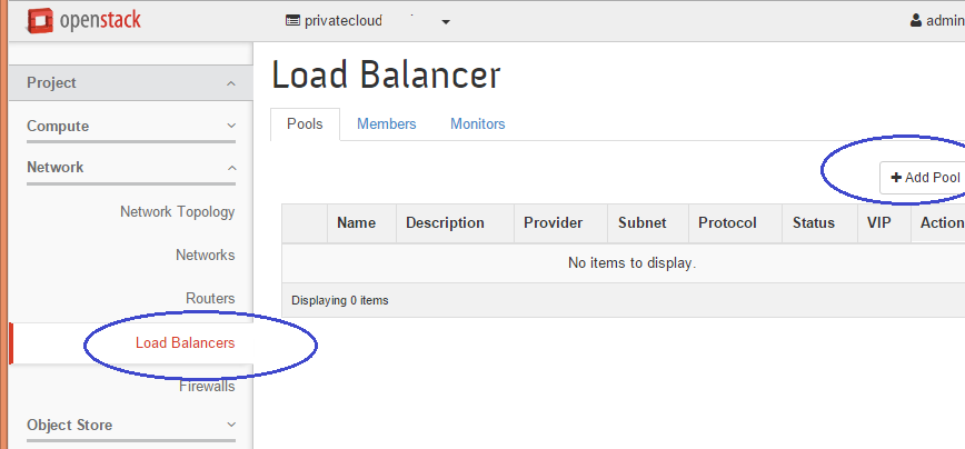 Image of how to add add a New Load Balancing Pool in OpenStack