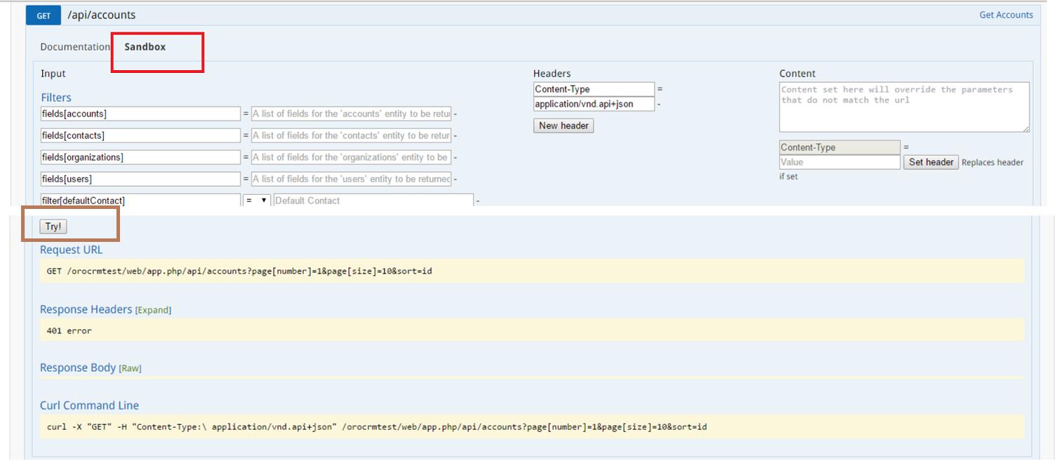 Web API for OroCRM